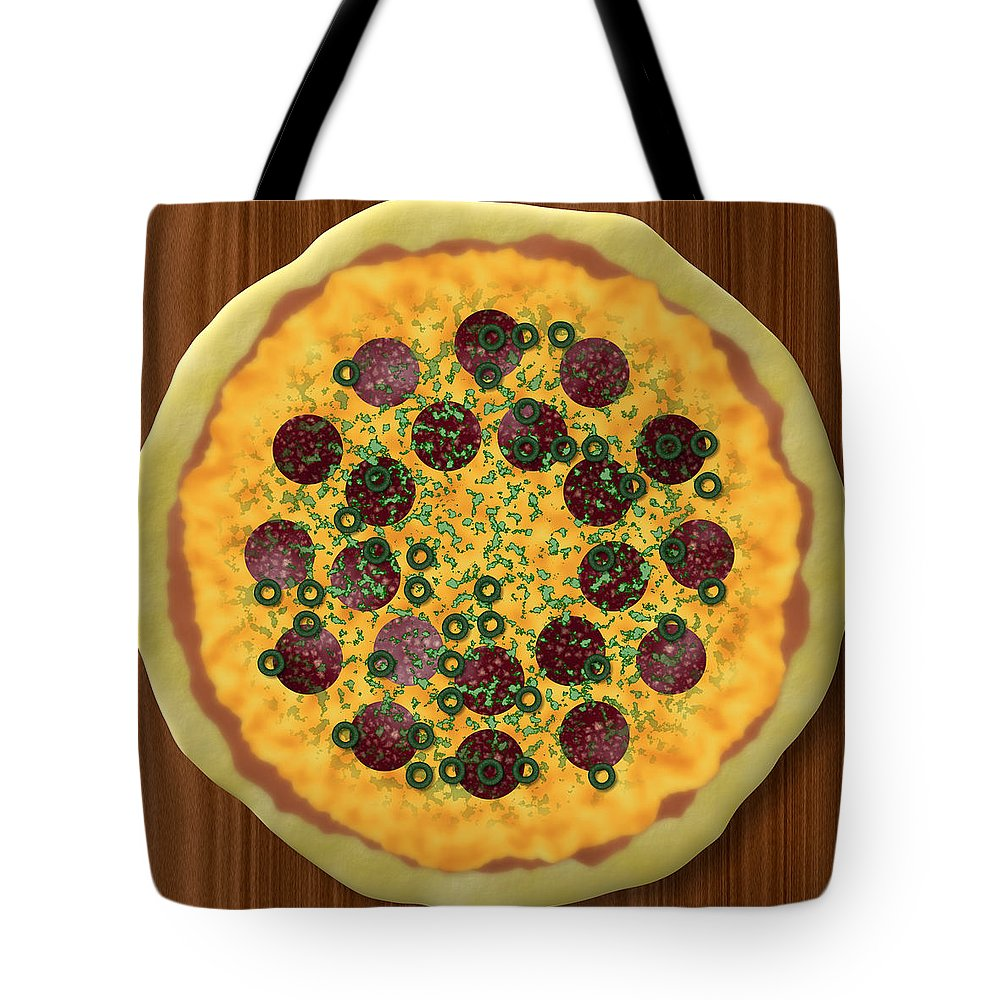 Pizza Tote Bag featuring the digital art Pizza by Miroslav Nemecek