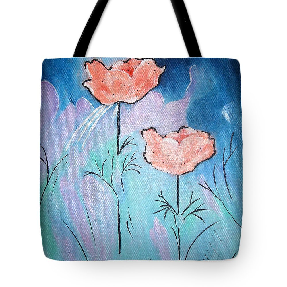 Poppies Tote Bag featuring the painting Poppies by Gloria Dietz-Kiebron