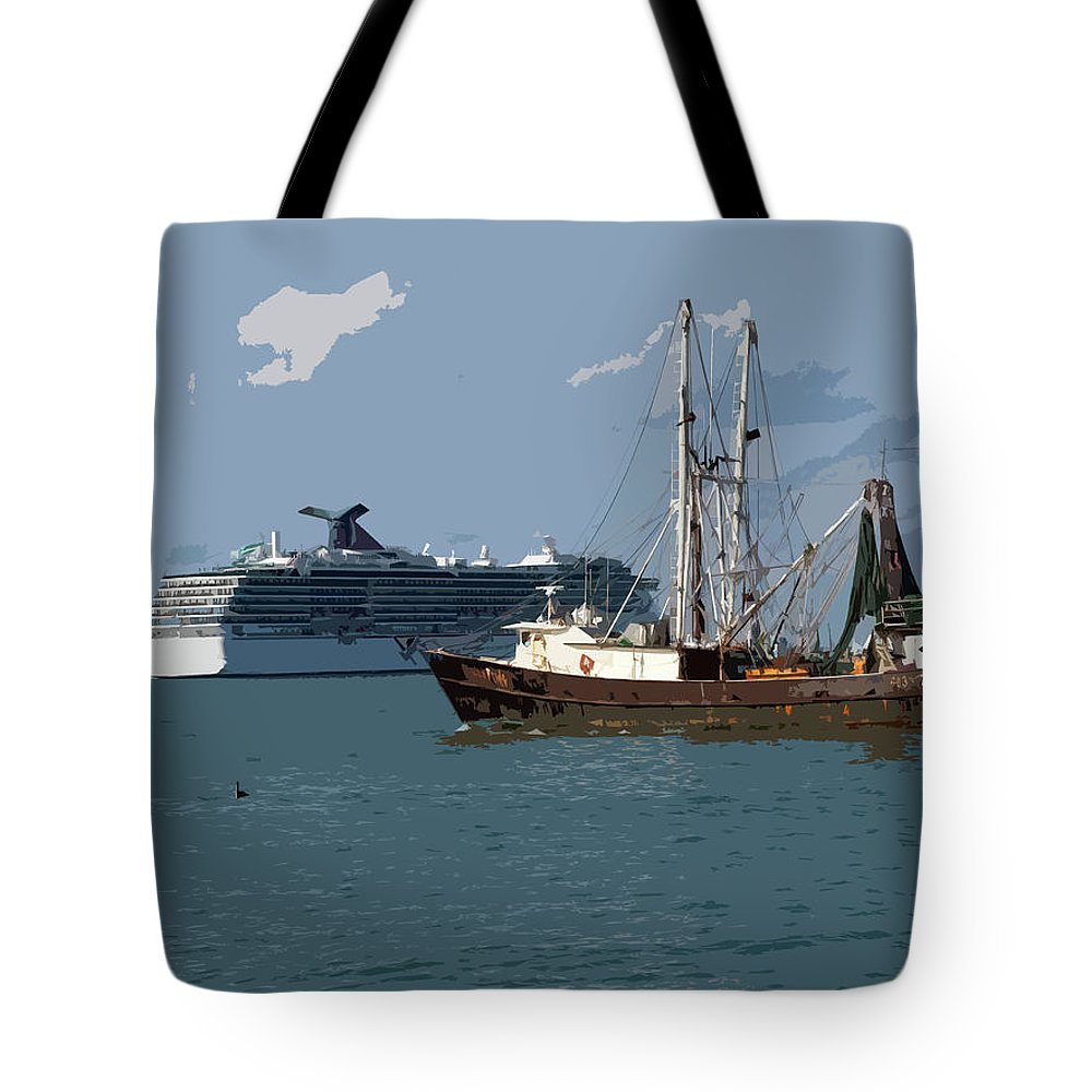 Florida Tote Bag featuring the painting Port Canaveral In Florida Usa by Allan Hughes