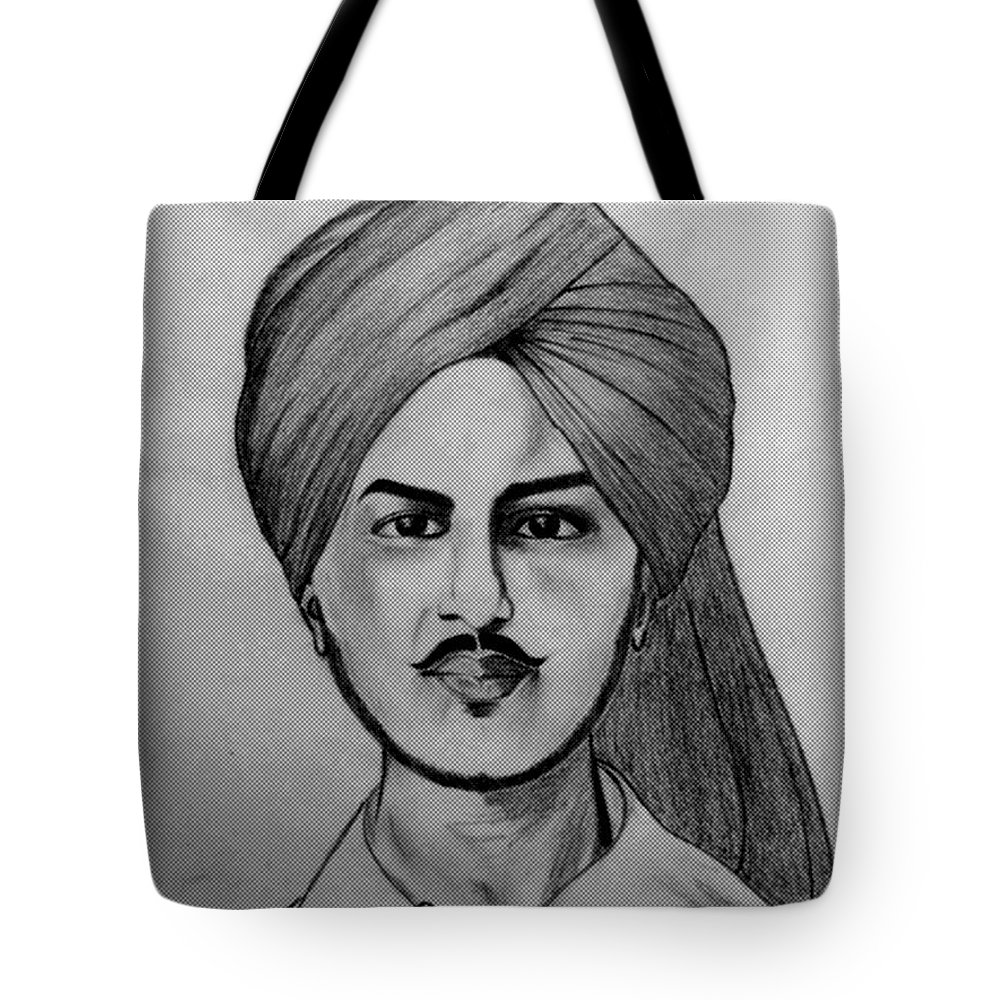 Tote Bag featuring the drawing Portrait Art by Kirandeep Kaur