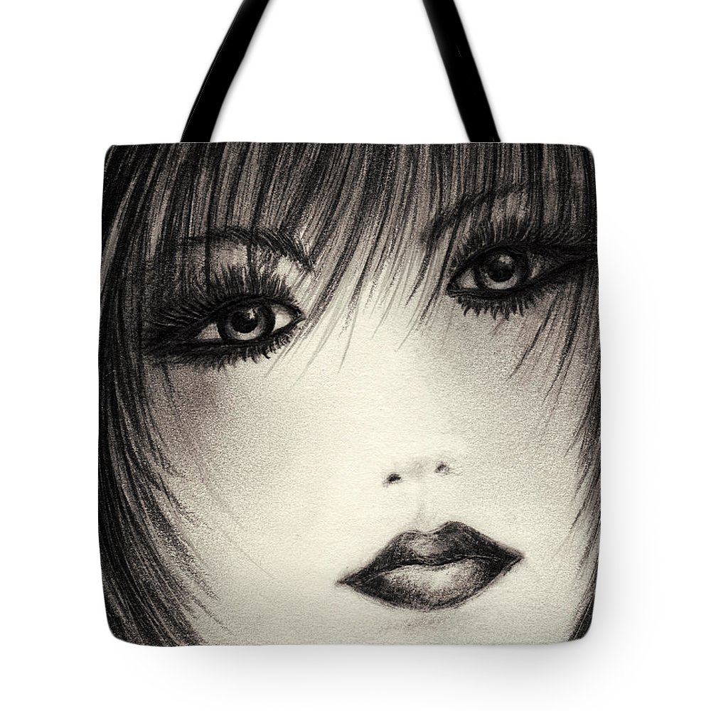 Portrait Tote Bag featuring the drawing Portrait Study by Rachel Christine Nowicki
