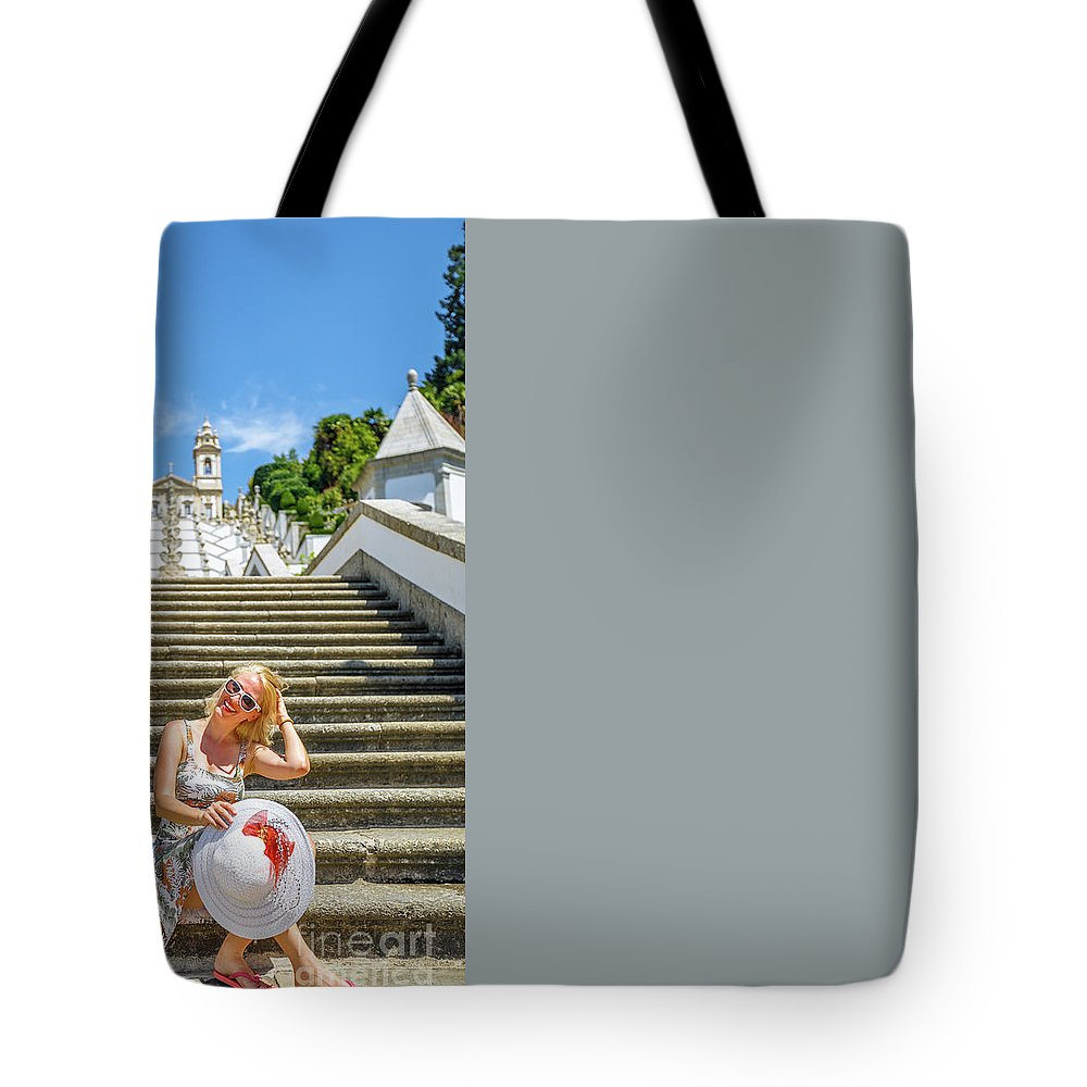Braga Tote Bag featuring the photograph Portugal Woman Tourist by Benny Marty