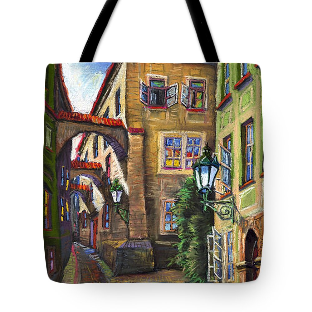 Prague Tote Bag featuring the painting Prague Old Street by Yuriy Shevchuk