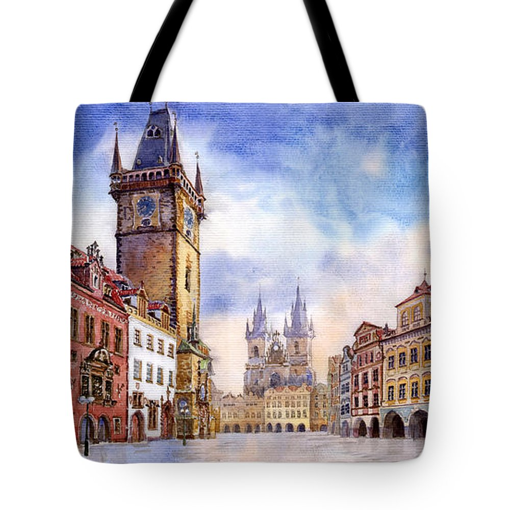 Watercolour Tote Bag featuring the painting Prague Old Town Square by Yuriy Shevchuk