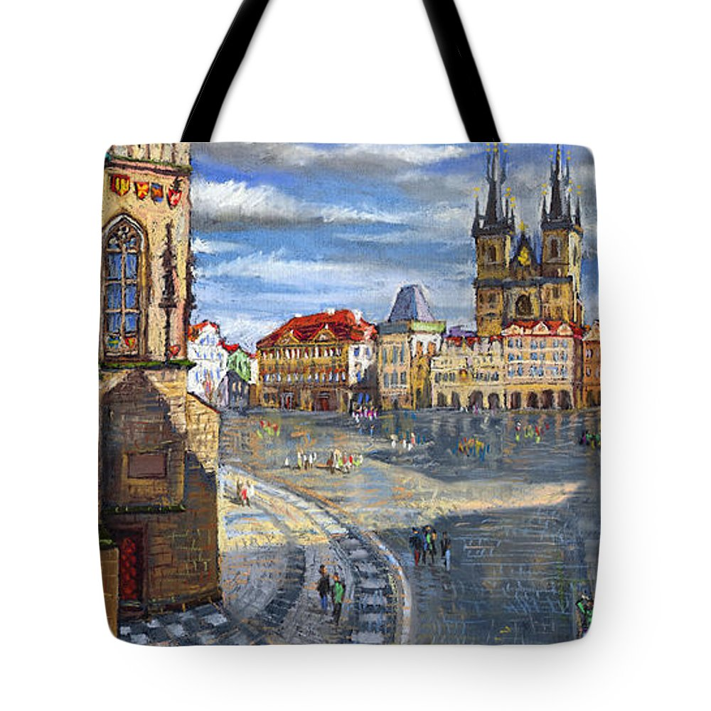 Pastel Tote Bag featuring the painting Prague Old Town Squere by Yuriy Shevchuk