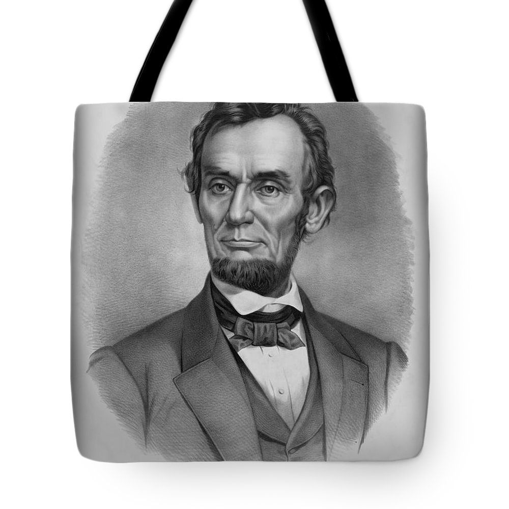 Abraham Lincoln Tote Bag featuring the drawing President Lincoln by War Is Hell Store