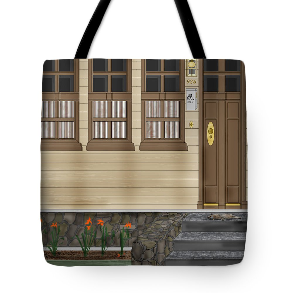 Townscape Tote Bag featuring the painting Rags On The Front Steps by Anne Norskog