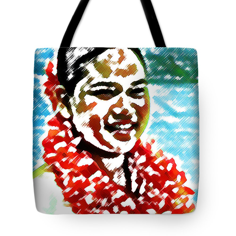 Red Lei Tote Bag featuring the digital art Red Lei by James Temple