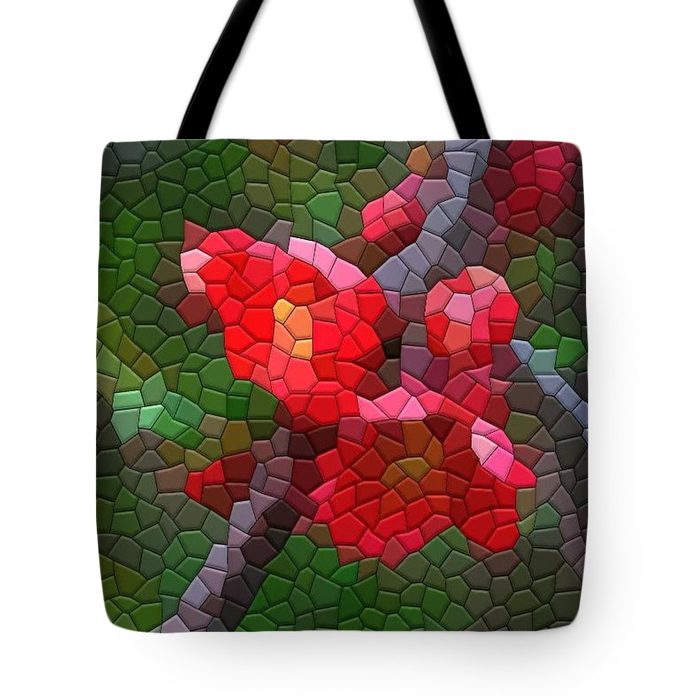 Quince Tote Bag featuring the photograph Red Quince by Kathryn Meyer