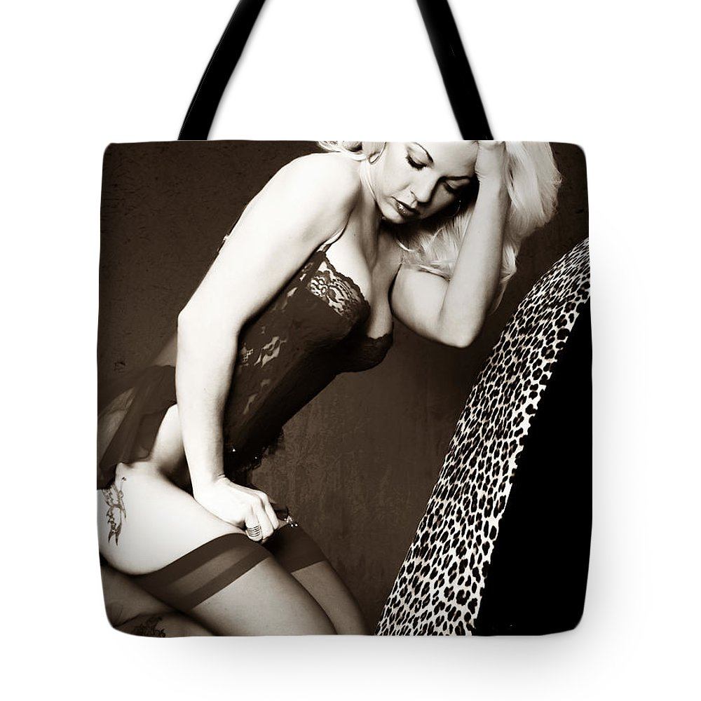 Clay Tote Bag featuring the pyrography Retro Pinup by Clayton Bruster