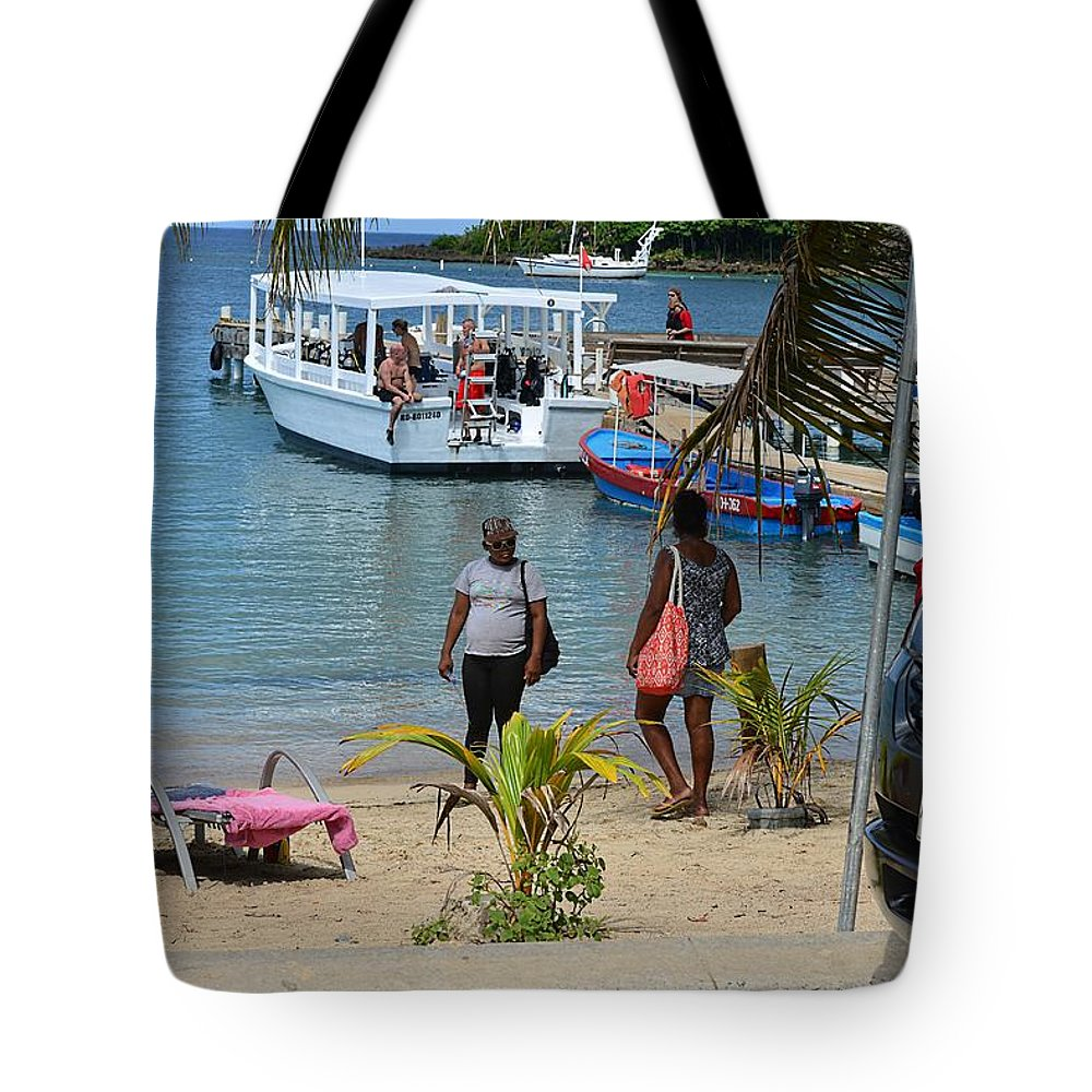 Landscape Tote Bag featuring the photograph Roatan Scene by Gianni Bussu