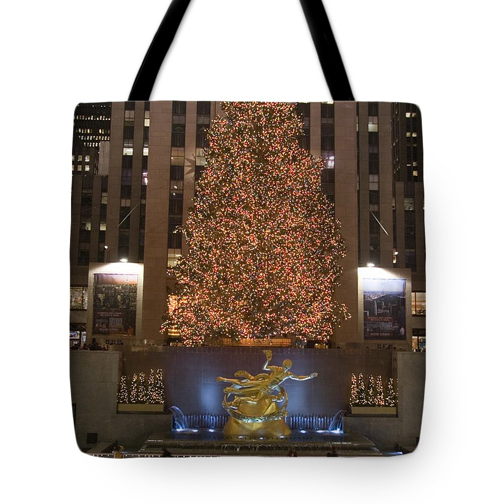 New York City Tote Bag featuring the photograph Rockefeller Center And The Famous by Taylor S. Kennedy