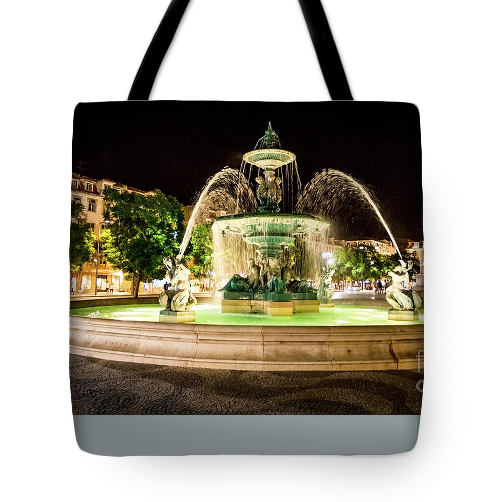 Lisbon Tote Bag featuring the photograph Rossio Square Night by Benny Marty
