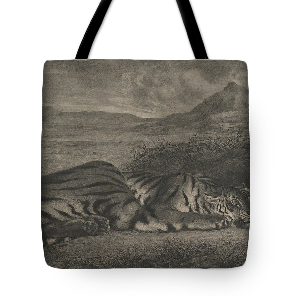 19th Century Art Tote Bag featuring the relief Royal Tiger by Eugene Delacroix