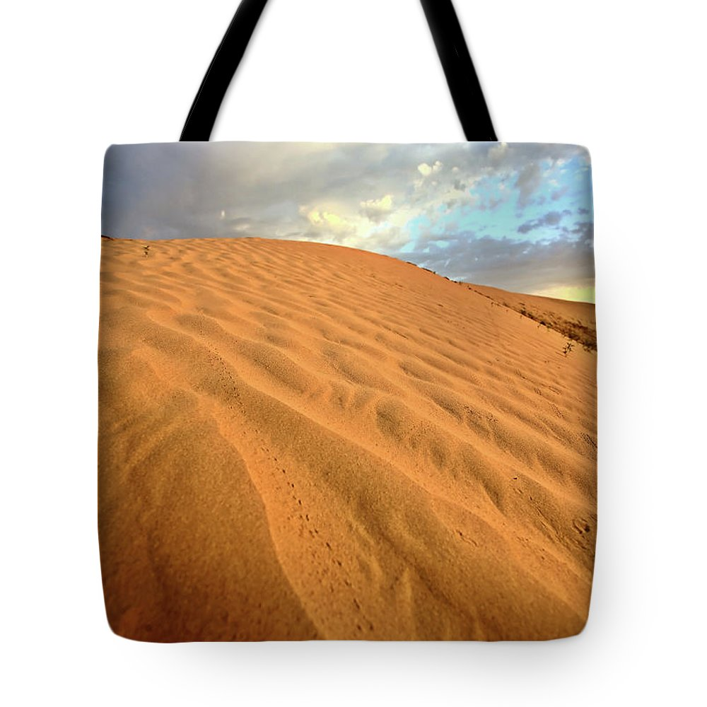 Sand Dune Tote Bag featuring the digital art Sand Dune At Great Sand Hills In Scenic Saskatchewan by Mark Duffy