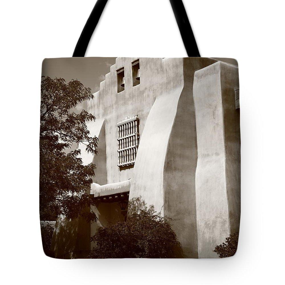 66 Tote Bag featuring the photograph Santa Fe - Adobe Church by Frank Romeo