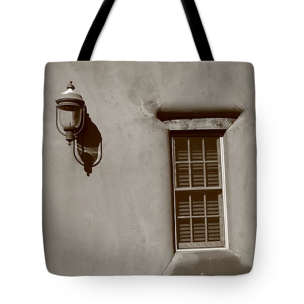 Adobe Tote Bag featuring the photograph Santa Fe - Adobe Window And Light by Frank Romeo