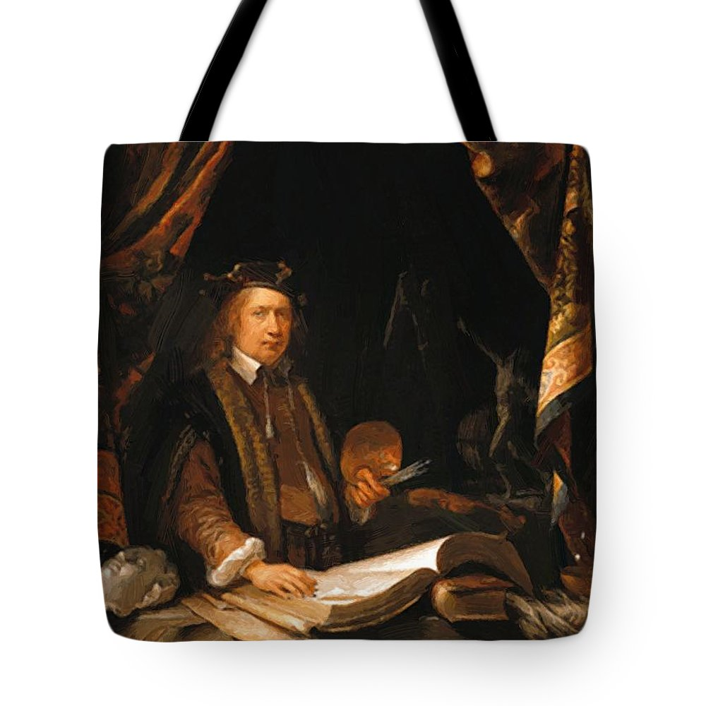 Self Tote Bag featuring the painting Self Portrait by Dou Gerrit