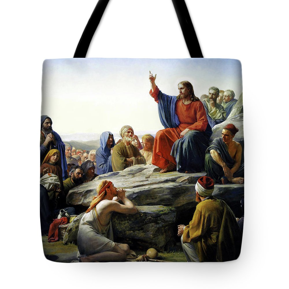 Sermon On The Mount Tote Bag Featuring Painting By Carl Bloch