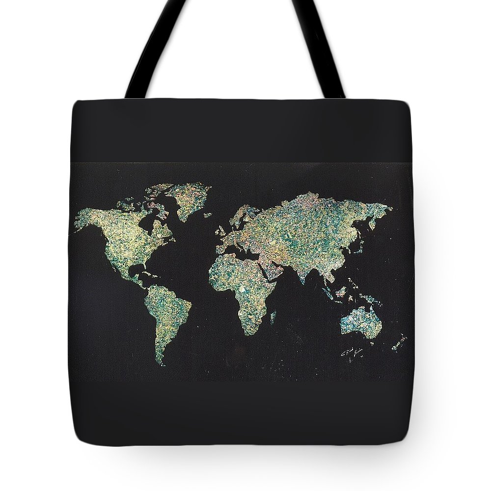 World Maps Tote Bag featuring the painting Shattered World by Rick Silas