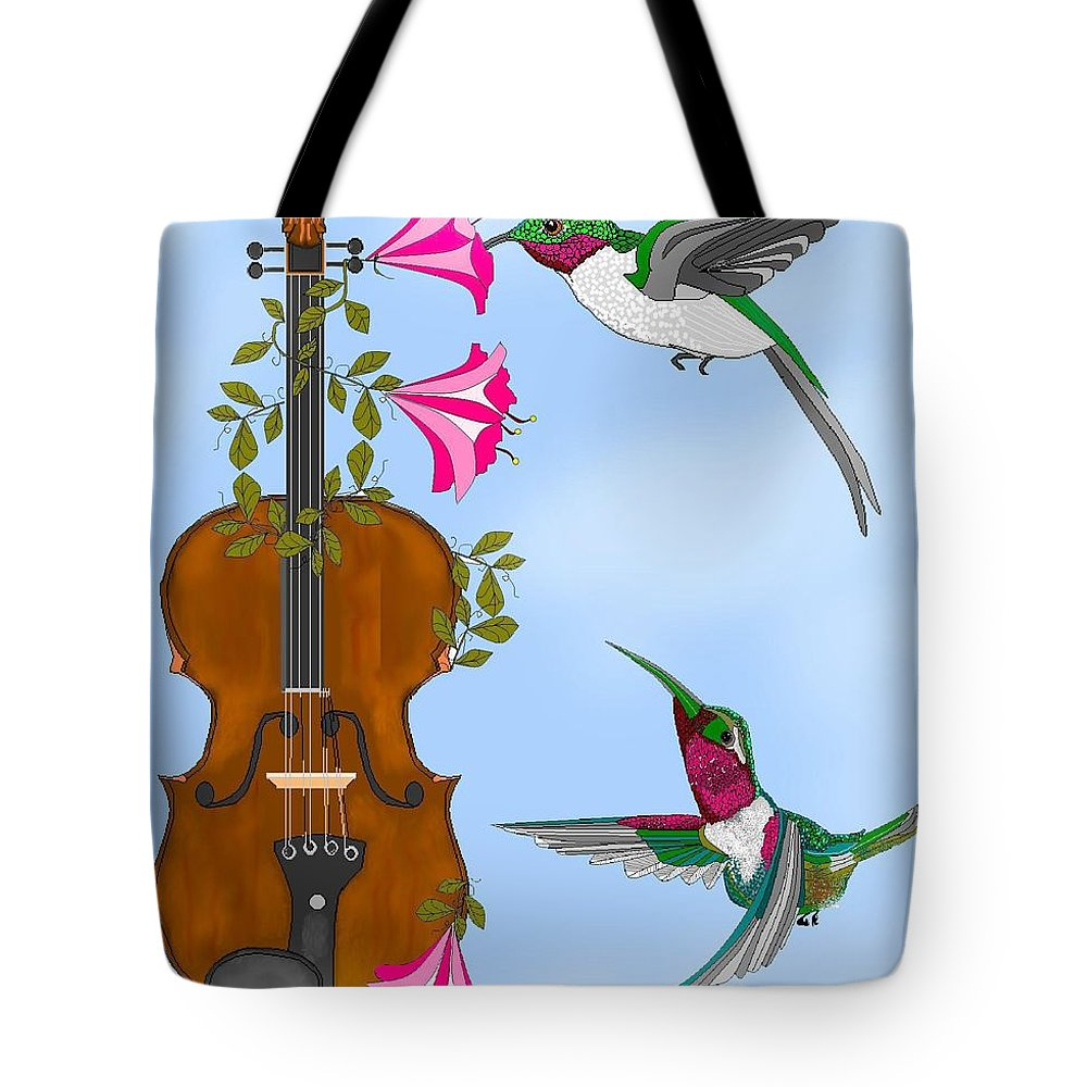 Fantasy Tote Bag featuring the painting Singing The Song Of Life by Anne Norskog