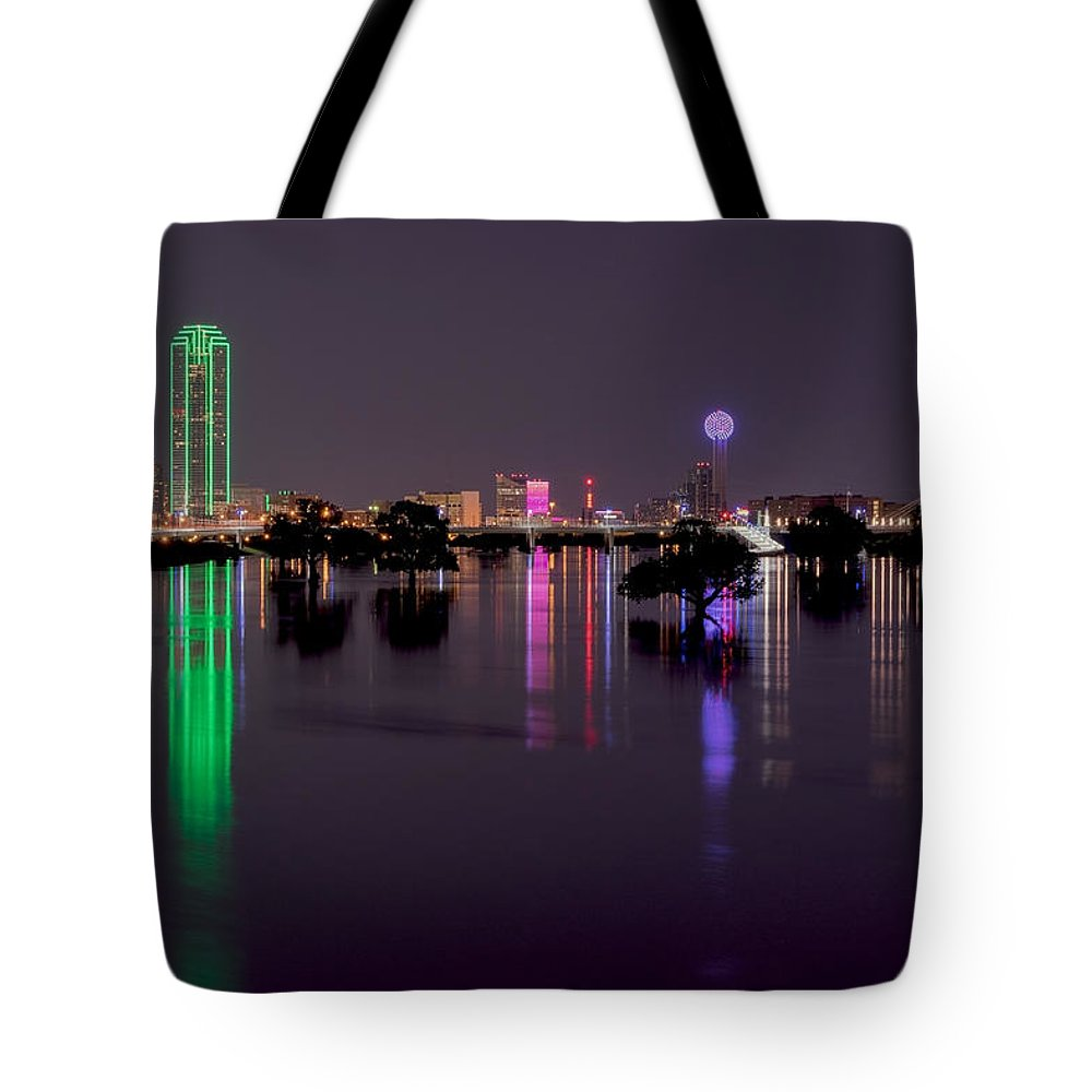 Dallas Tote Bag featuring the photograph Skyline Of Dallas, Texas At Night Across Flooded Trinity River by Wendell Clendennen