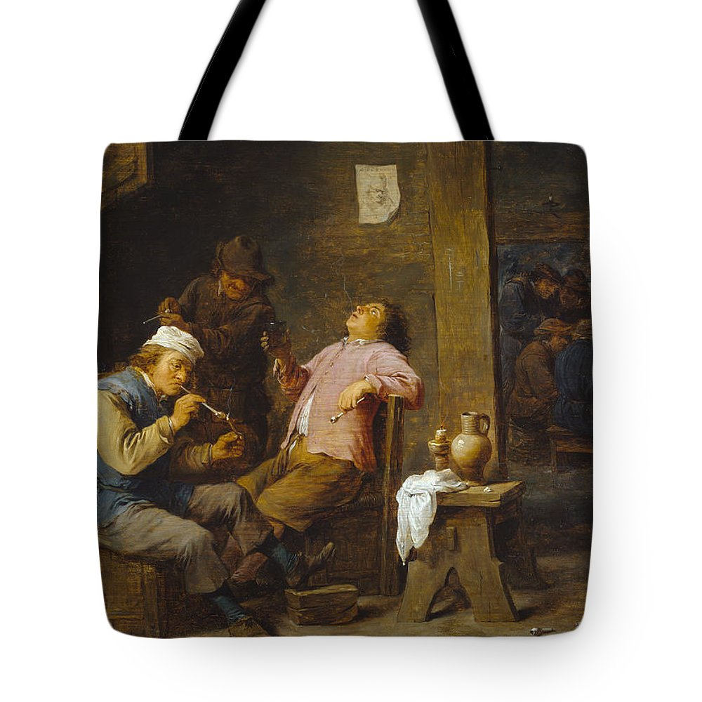 Baroque Tote Bag featuring the painting Smokers And Drinkers by David Teniers the Younger