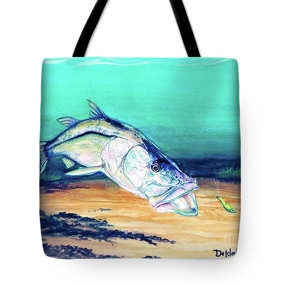 Tote Bag featuring the painting Snook On Jig by Joe DeKleva