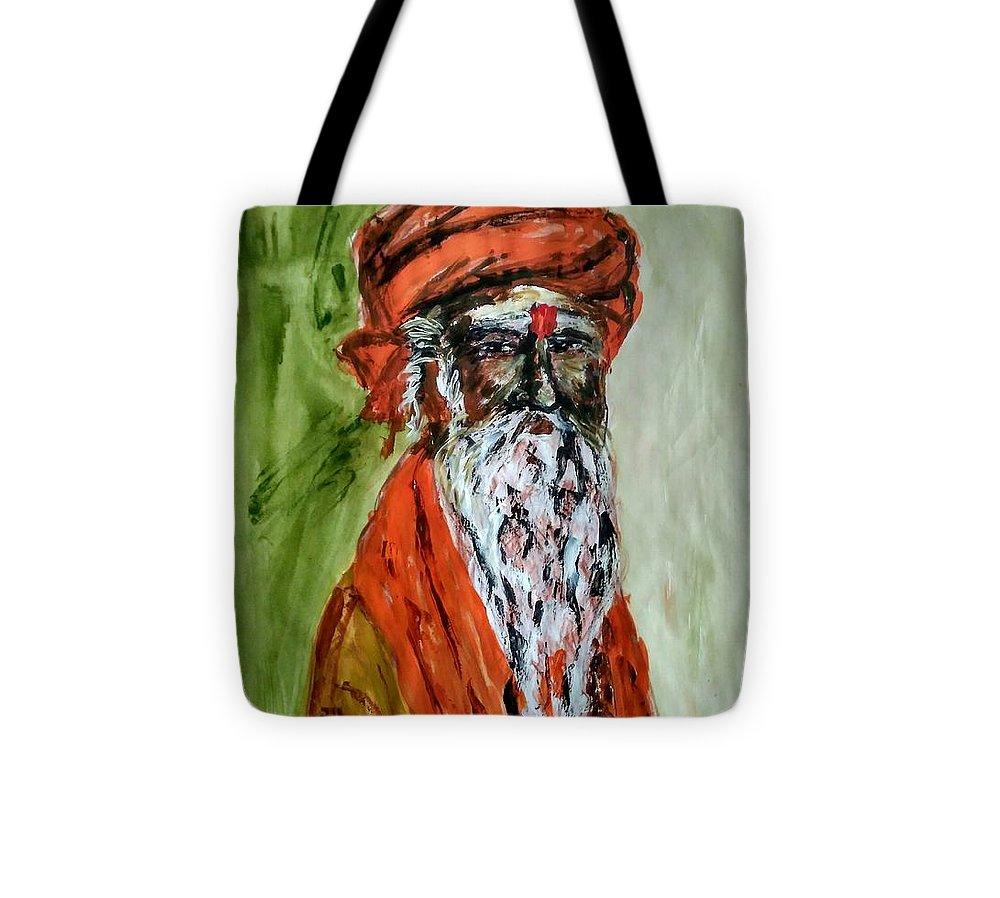 Spiritual Tote Bag featuring the painting Spiritual Guru by Vineeth Menon