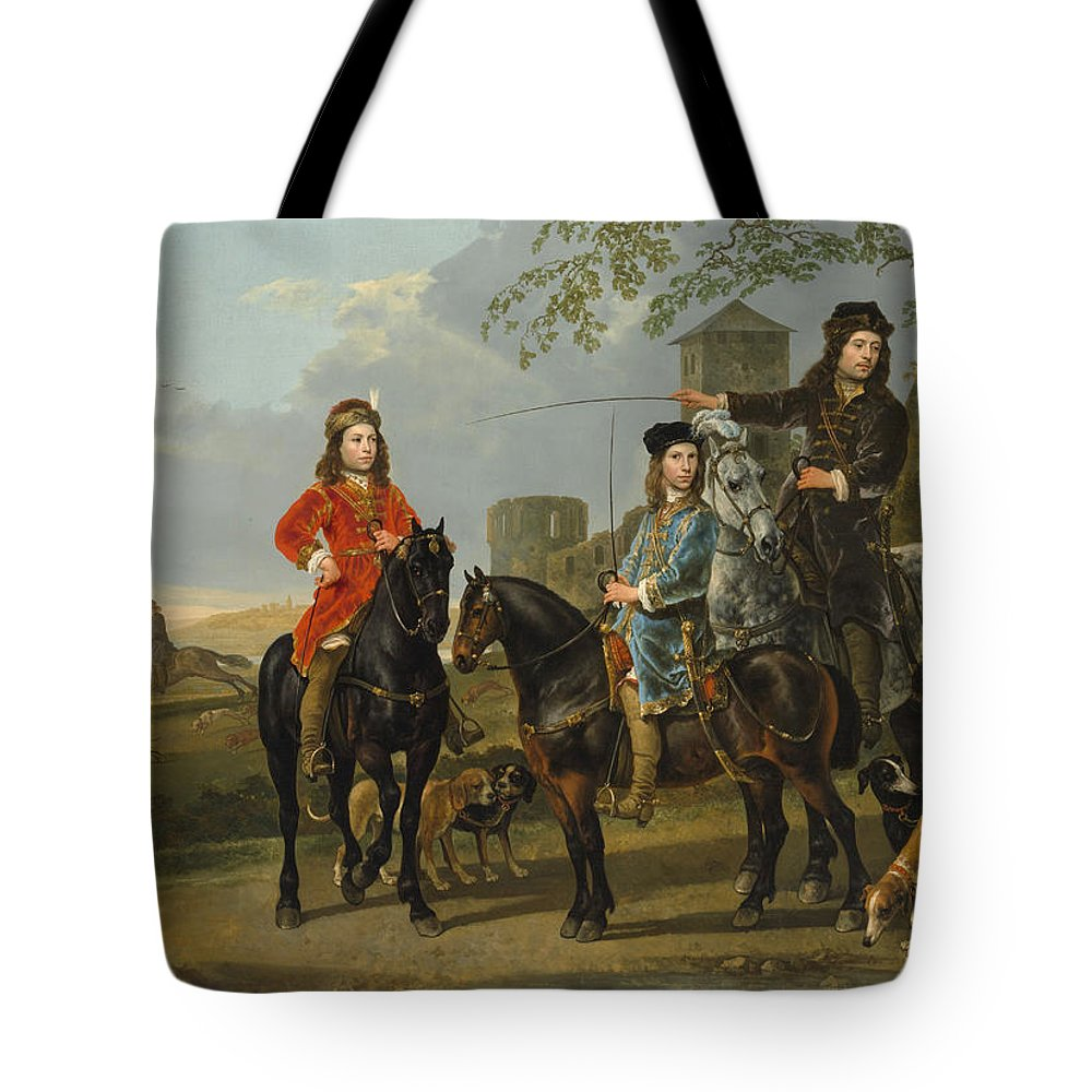 Aelbert Cuyp Tote Bag featuring the painting Starting For The Hunt by Aelbert Cuyp