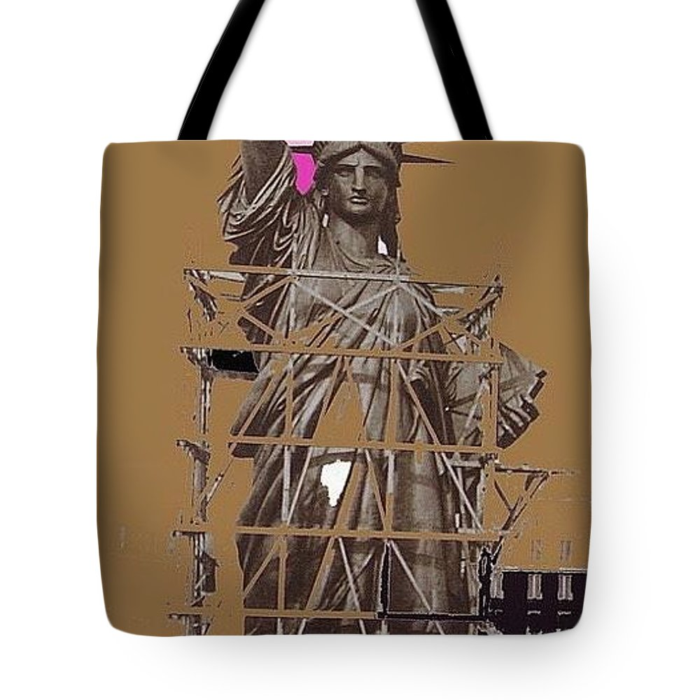 Statue Of Liberty Being Built 1876-1881 Paris Collage Pierre Petit Tote Bag featuring the photograph Statue Of Liberty Being Built 1876-1881 Paris Collage Pierre Petit by David Lee Guss