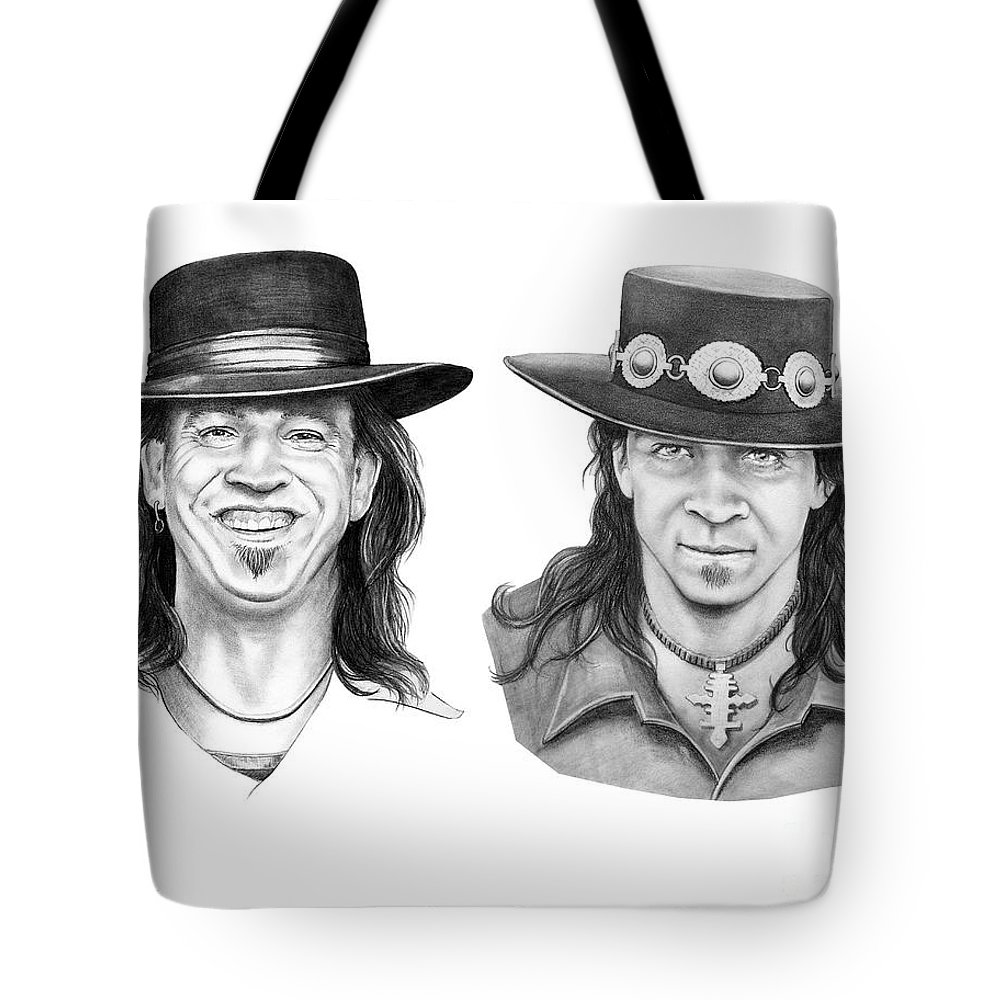 Drawing Tote Bag featuring the drawing Stevie Ray Vaughn by Murphy Elliott