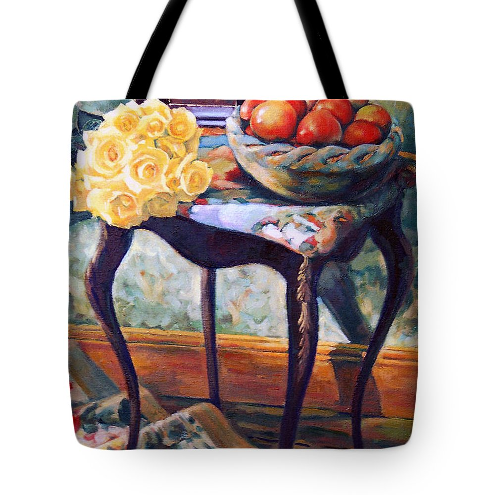 Still Life Tote Bag featuring the painting Still Life With Roses by Iliyan Bozhanov