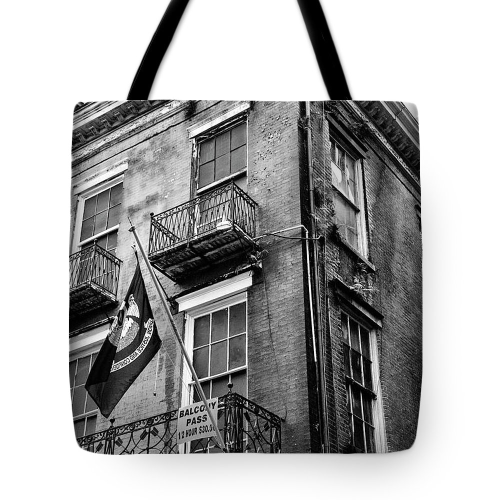 New Orleans Tote Bag featuring the photograph 2 Story Building New Orleans Black White by Chuck Kuhn