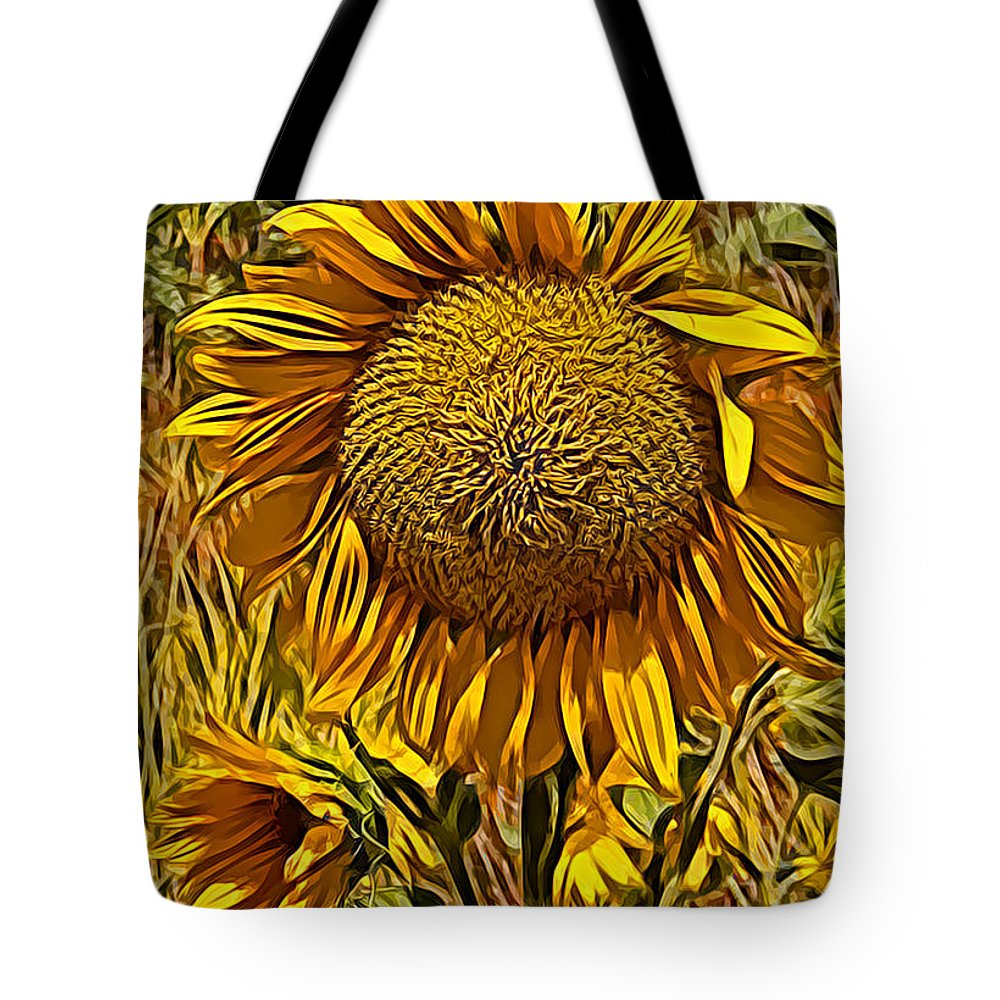 Sunflower Yellow Flower Blue Sky Grass Green Sunflower Yellow Flower Blue Sky Grass Green Framed Prints Tote Bag featuring the photograph Sunflower by Galeria Trompiz