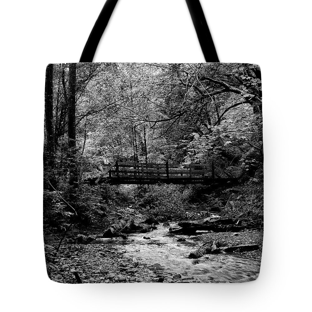 Black And White Tote Bag featuring the photograph Swan Creek Park by David Patterson
