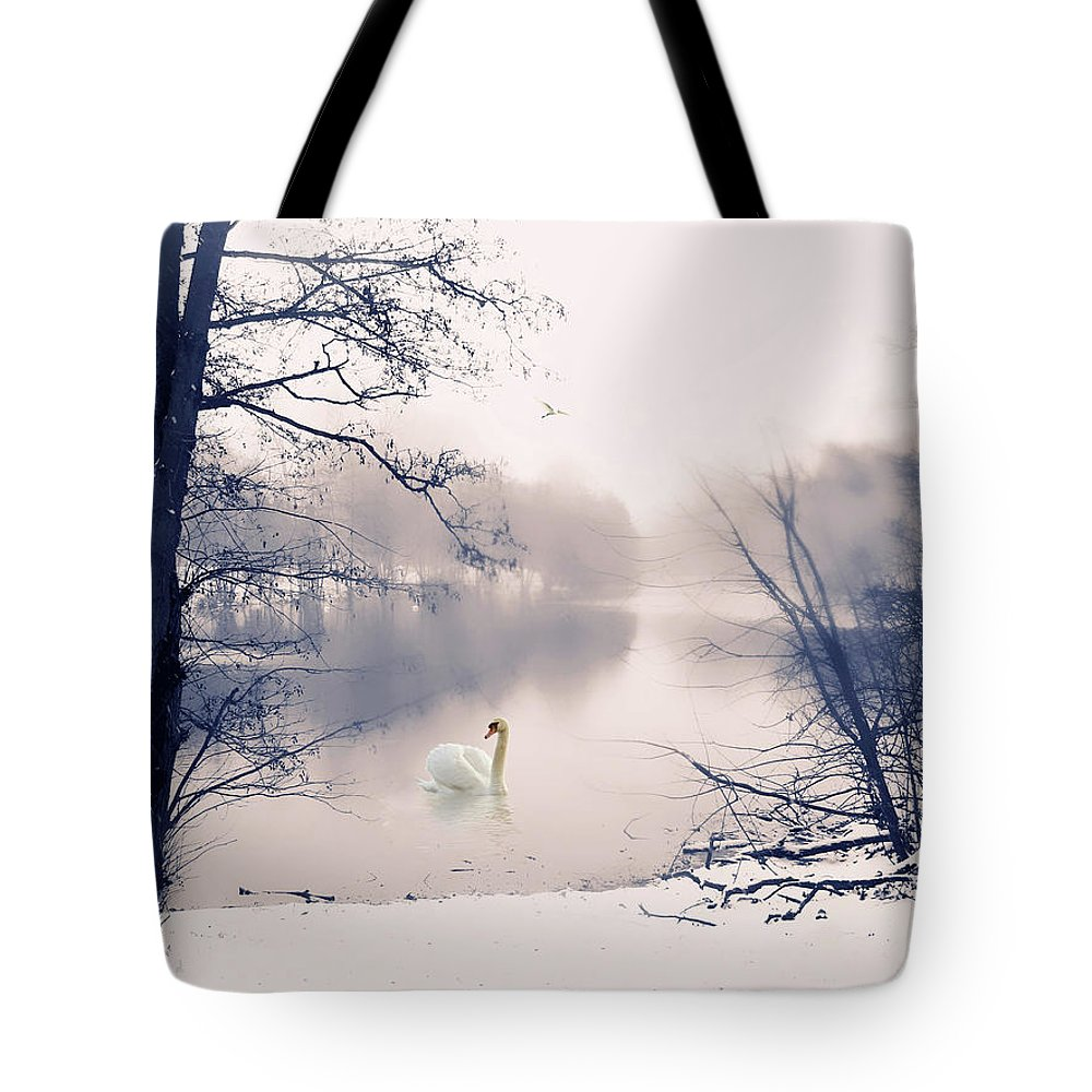 Winter Tote Bag featuring the photograph Swan Song by Jessica Jenney
