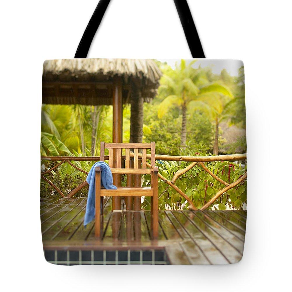 Blue Tote Bag featuring the photograph Tahiti Bora Bora by Kyle Rothenborg - Printscapes
