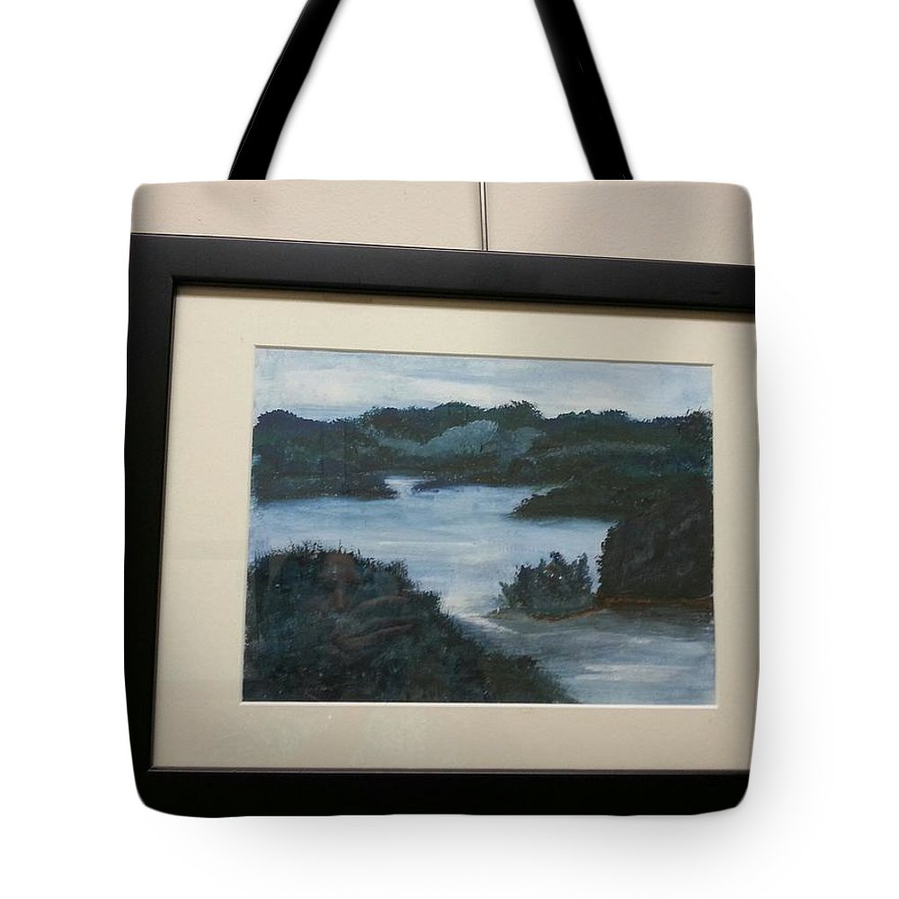 Framed Picture Tote Bag featuring the painting Tenn River At Spring City Tn by Myrtle Joy