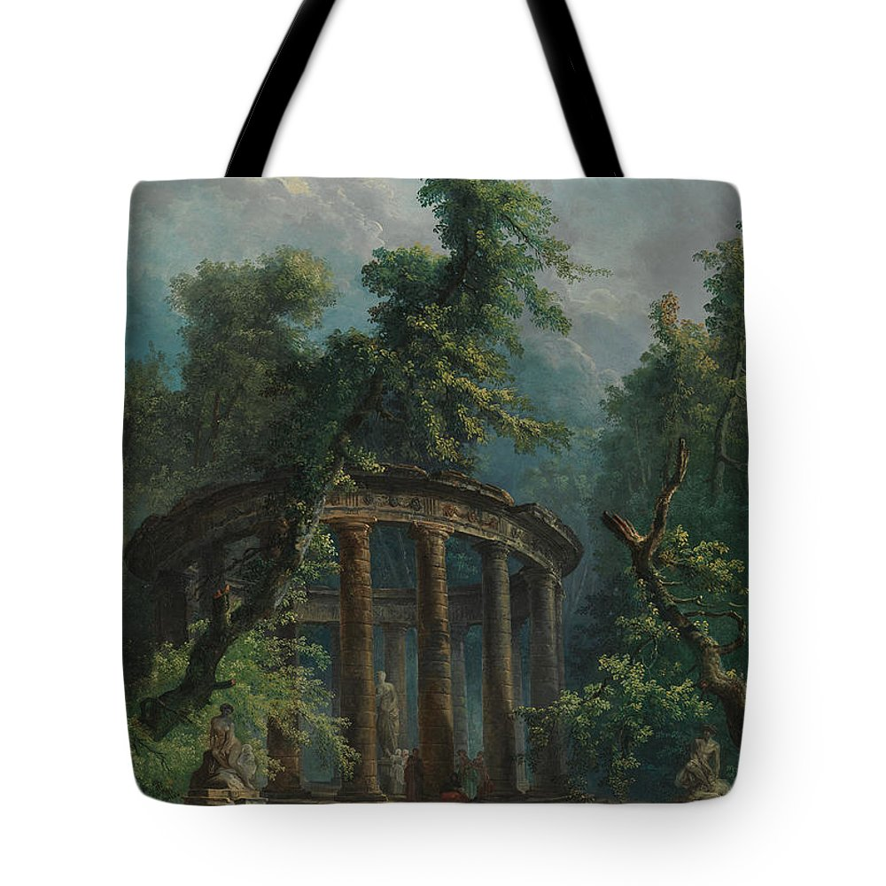 Bathers Tote Bag featuring the painting The Bathing Pool by Hubert Robert