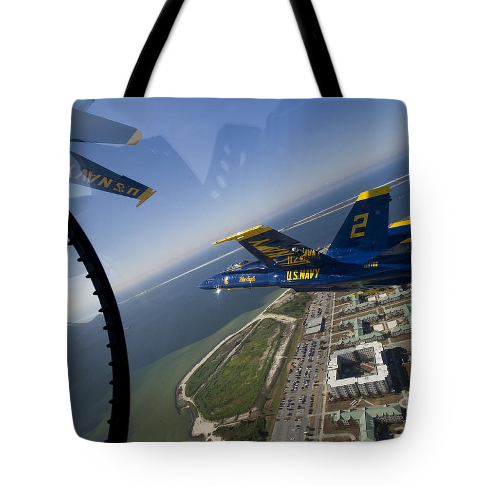 U.s. Navy Tote Bag featuring the painting the Blue Angels by Celestial Images