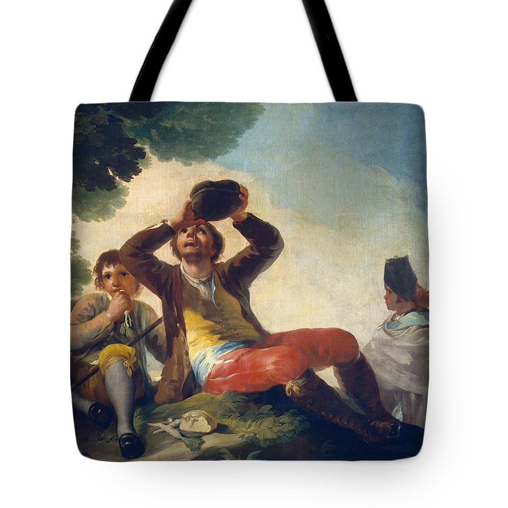 Child Tote Bag featuring the painting The Drinker by Francisco Goya