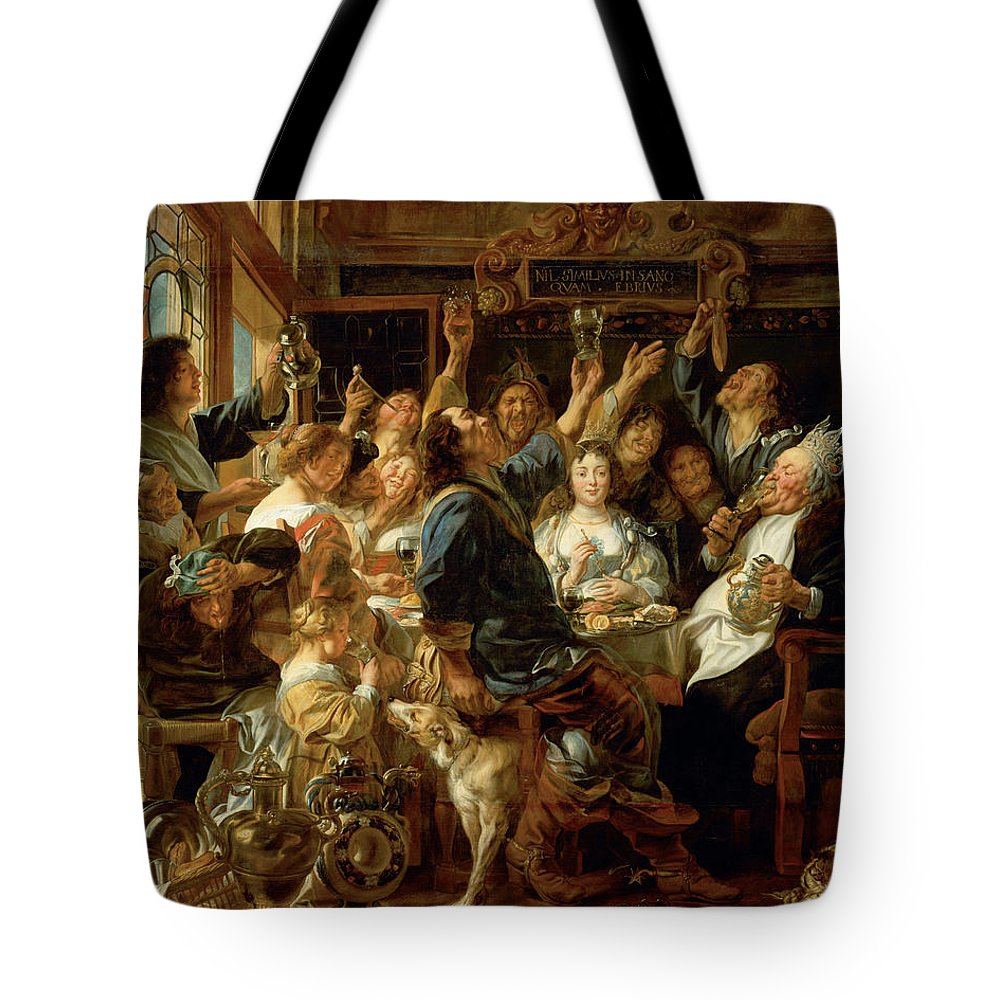 Animal Tote Bag featuring the painting The Feast Of The Bean King by Jacob Jordaens