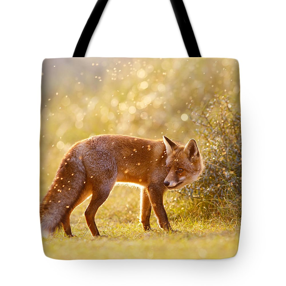 Red Fox Tote Bag featuring the photograph The Fox And The Fairy Dust by Roeselien Raimond