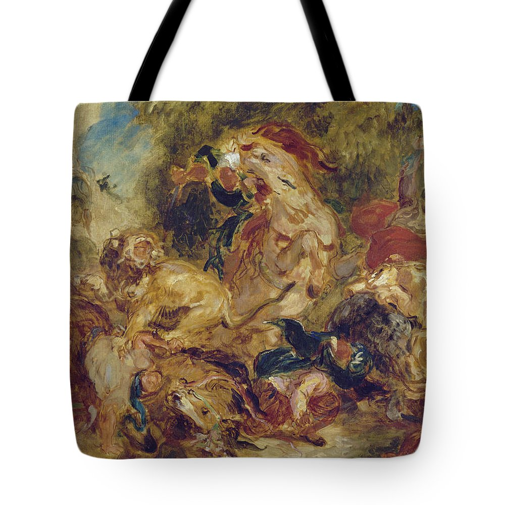 Animal Tote Bag featuring the painting The Lion Hunt by Eugene Delacroix