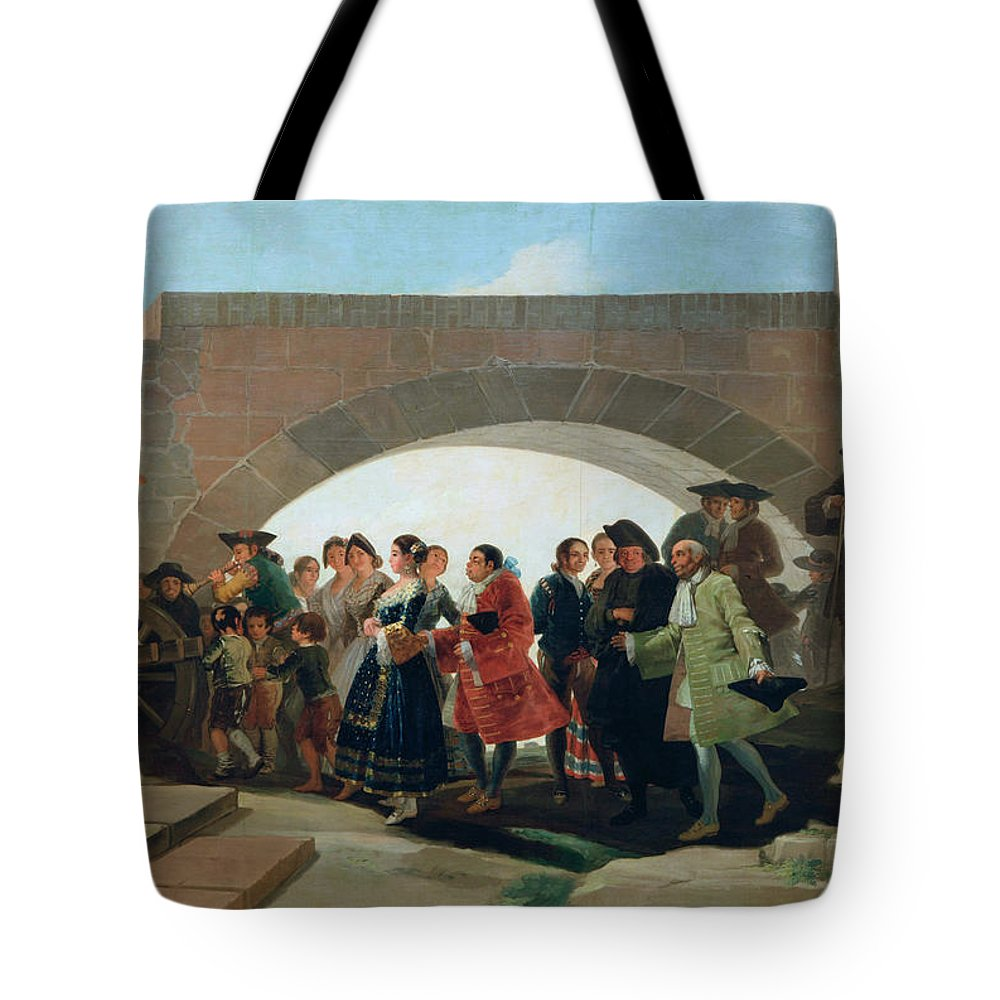 Celebrating Tote Bag featuring the painting The Wedding by Francisco Goya