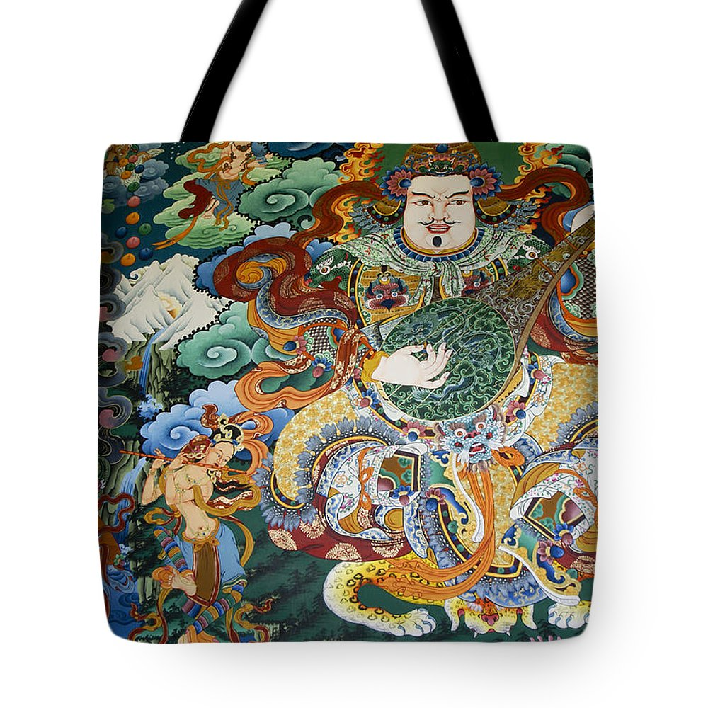 Asia Tote Bag featuring the photograph Tibetan Buddhist Mural by Michele Burgess