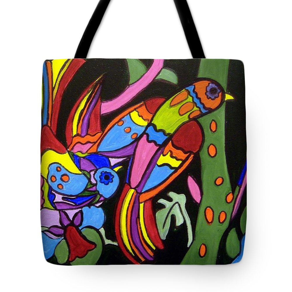 Tropical Tote Bag featuring the painting 2 Tropical Birds by Anggelyka Apostle