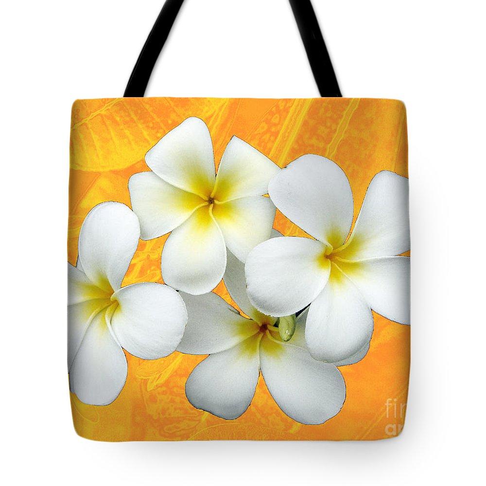 Frangrapani Tote Bag featuring the photograph Tropical Frangrapani II by Karen Lewis