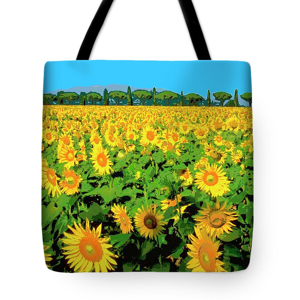 Tuscany Sunflowers Tote Bag featuring the mixed media Tuscany Sunflowers by Dominic Piperata
